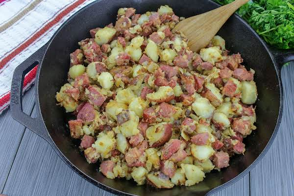 Corned Beef Hash In A Cast Iron Skillet.