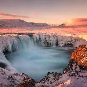 Winter Desire by Daniel Herr - Landscapes Sunsets & Sunrises ( lights, iceland, colors, waterfall, sunrise )