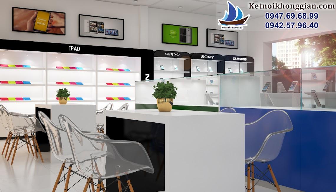 thiết kế cửa hàng điện thoại di động chất lượng thi công cao