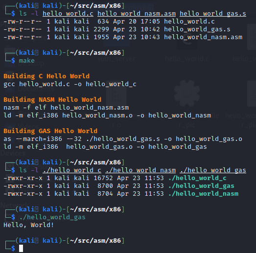 Using the Make file to build the C code, NASM, and GAS version of the Hello World program.