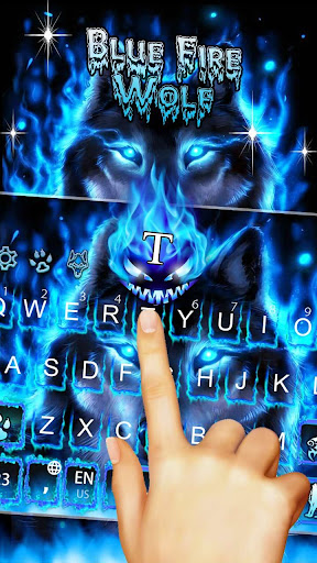 Blue Fire Wolf Keyboard Theme 10001004 screenshots 1