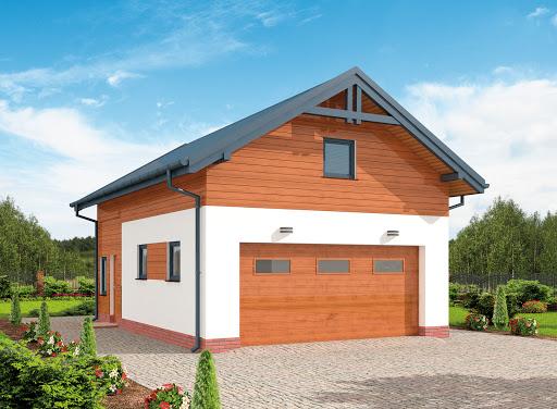 projekt G298 szkielet drewniany garaż dwustanowiskowy z poddaszem użytkowym