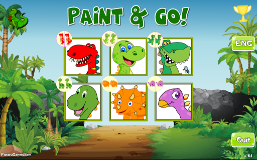 Paint and Go - Coloring of Dinosaurs with Cartoons android2mod screenshots 5