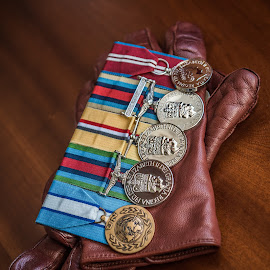 Gloves and Military Medals by Jamie Ledwith - Artistic Objects Clothing & Accessories ( close up, medals, colour, gloves, war )