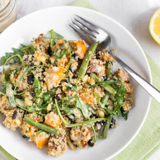 Sweet Potato Quinoa Salad With Tahini Dressing.