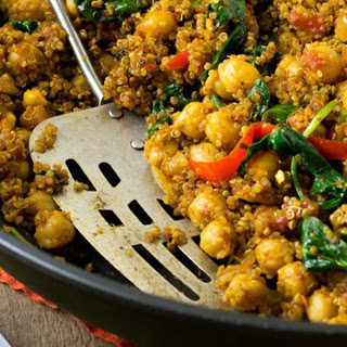 Indian Quinoa and Chickpea Stir-Fry [Vegan]