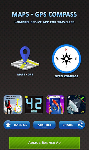 Gyro Compass 3D True North Finder with GPS Maps screenshot 1