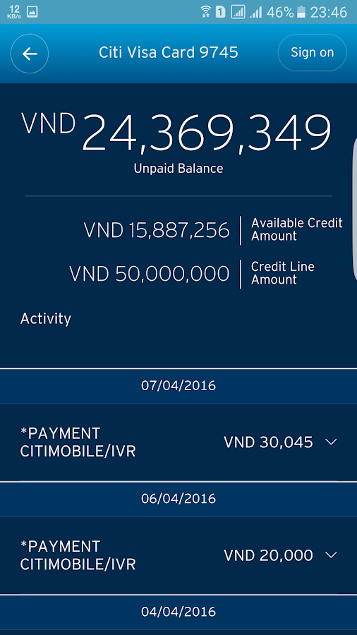 Citi Mobile- screenshot
