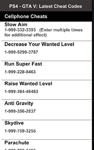 gta 5 cheats ps4 phone numbers