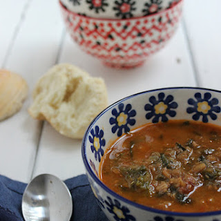 Lentil, Spicy Sausage and Spinach Soup.
