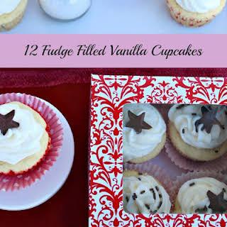 Fudge Filled Vanilla Cupcakes.