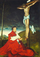 Photo: Lucas Cranach El Viejo., Cardinal Albrecht of Brandenburg Kneeling before Christ on the Cross, C. 1520-29