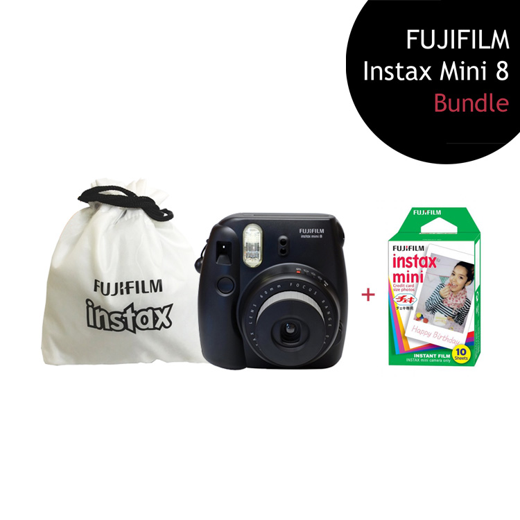 [Bundle] FUJIFILM Instax Mini 8 Camera (Black) + Single Film Pack + Instax Pouch by My Pocket Net Sdn Bhd