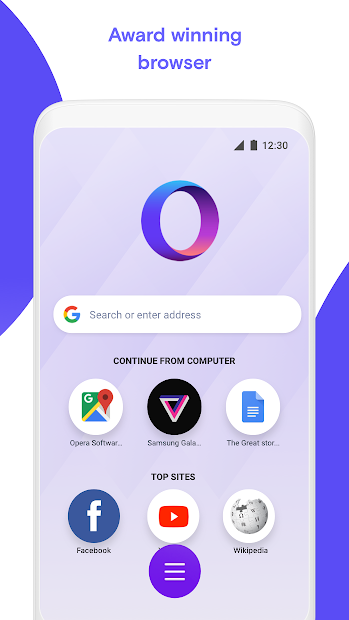 Opera Touch: the fast, new web browser Android App Screenshot