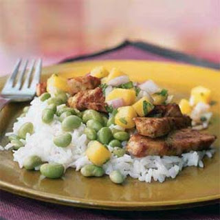 Chicken with Mango Salsa, Edamame, and Coconut Rice