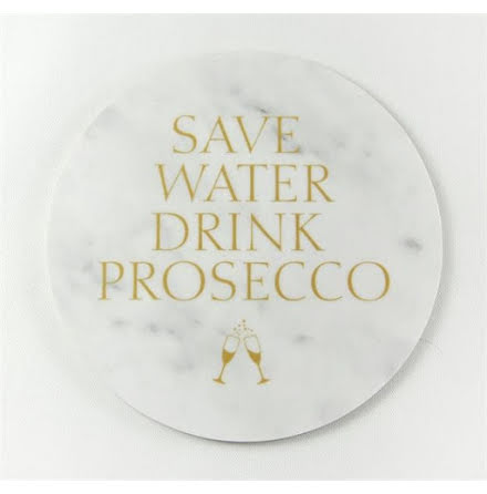 Glasunderlägg - Save water drink prosecco