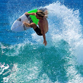 Green air by Julie Steele - Sports & Fitness Surfing ( surfer, steele, wave, air )