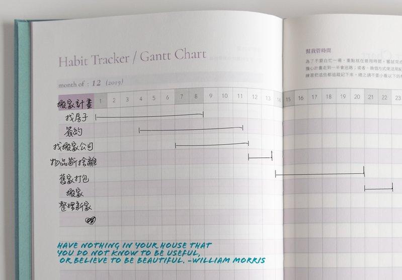 手帳寫什麼-手帳範例-工作規劃甘特圖