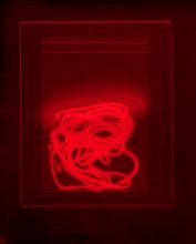 Photo: © Olivier Perrot   Photogramme « Bouts de ficelle rouge »  40x50cm sous cadre Tirage numérique sur papier chiffon, 2008  Ref 147 02/05