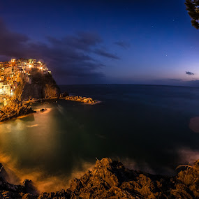 September Moonrise above Manarola, Cinque Terre by Lupu Radu - Landscapes Mountains & Hills ( exposure, cinque terre, riviera, manarola, italy, september, ligurian sea, moonrise,  )