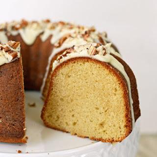 Brown Sugar Pound Cake with Butter Rum Pecan Glaze.