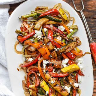 Easy Balsamic Grilled Vegetables with Feta.