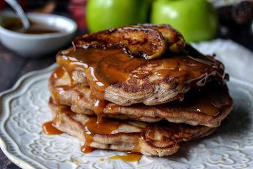 Apple Pie Pancakes w/ Caramel Bourbon Glaze