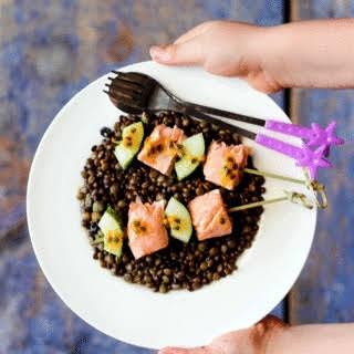 Lentil, Salmon and Passionfruit Salad.