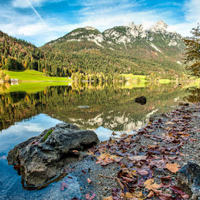 Rocky Lake and Mountains 9 by Adrian Wilson - Landscapes Mountains & Hills ( mcfade training, sking, up and down, lakes, ellmau, austria )