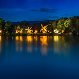 ASTRA Museum of Traditional Folk Civilization by Roberto Sorin - City,  Street & Park  City Parks ( starry sky, country, rural, trees, building, white night, spring, view, landmark, motion blur, transylvania, reflection, old, windmill, ancient, water, mill, traditional, museum, transylvania authentic, vintage, buildings, style, astra, lake, forest, ethnographic, tourism, romania, house, life, rustic, construction, tradition, village, europe, park, architecture, roof, green, historic, nature, countryside, culture, wooden, visit, travel, sibiu, landscape )