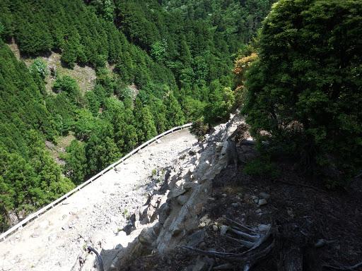 下に林道が見えるが崖・・・