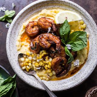 Cajun Garlic Lemon Butter Shrimp with Caramelized Corn Polenta.