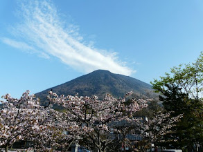 Photo: 中宮祠の橋から男体山・・・手前は満開の八重桜