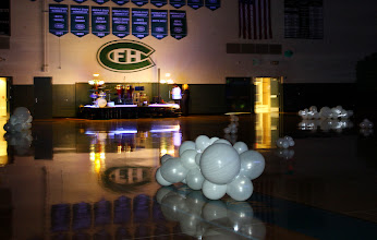 Photo: Forrest Hills Father Daughter dance Angles theme. 3 of 4 large floor clouds with lights on the dance floor.  ~ Balloons By Turnadaisy ~ artwithballoons.com Grand Rapids, Mi.