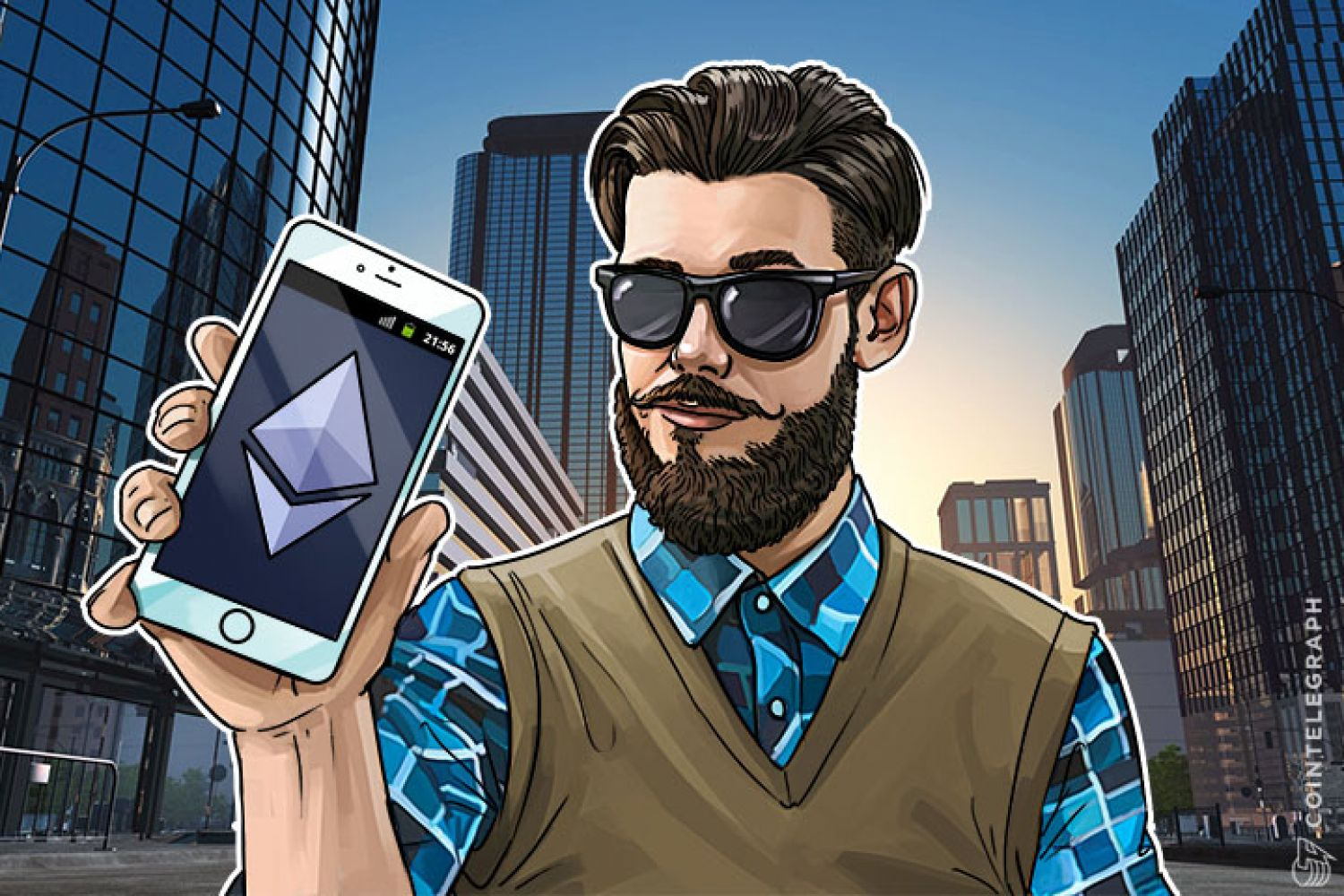 A man with mobile Ethereum wallet