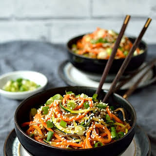 Spiralized Vegetable Noodle Bowls With Peanut Sauce.