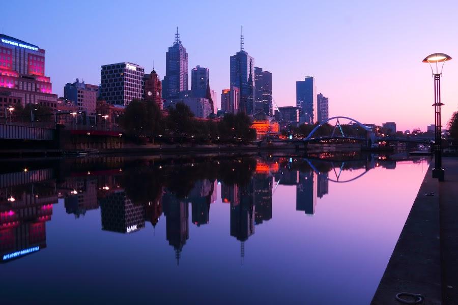 Melbourne mauve dawn by Ian McKellar - City,  Street & Park  Skylines ( melbourne city skyline dawn river )