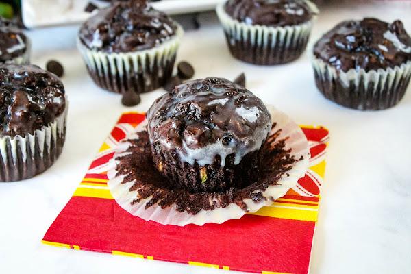 Dark Chocolate Zucchini Muffins With White Chocolate Ganache Recipe