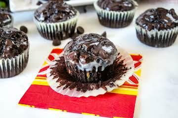 Dark Chocolate Zucchini Muffins With White Chocolate Ganache