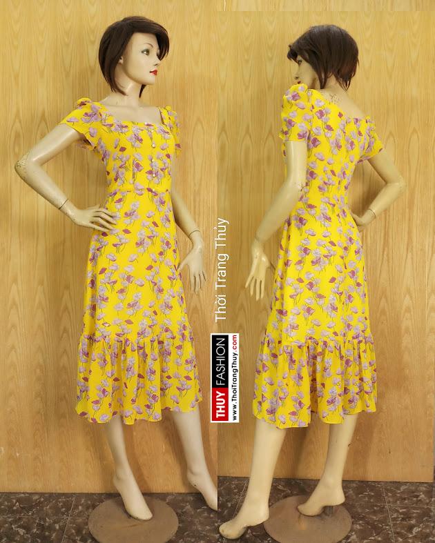 Váy xòe dáng dài qua gối họa tiết hoa V682 thời trang thủy hải phòng