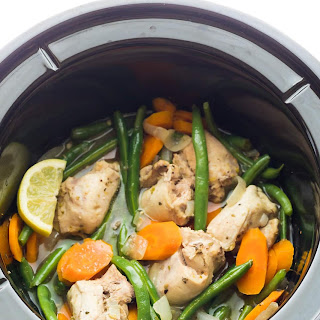 Slow Cooker Lemon Garlic Chicken Thighs (Freezer to Crock Pot).