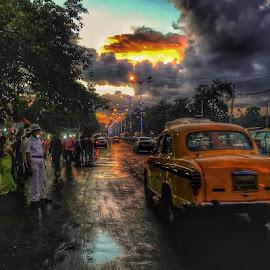 Busy evening by Pitambar Mondal - City,  Street & Park  Street Scenes