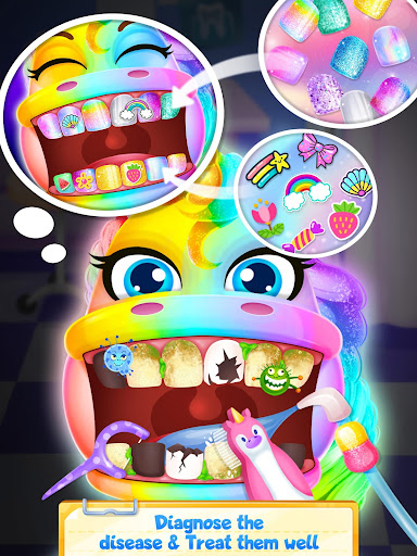 Unicorn Dentist: capturas de pantalla del Rainbow Pony Beauty Salon 4