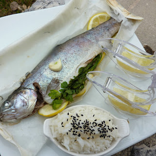 Trout In A Parcel With Lemon And Parsley Served With Basmati Rice