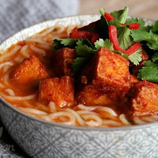 Thai Curry Noodle Soup with Spicy Tofu.