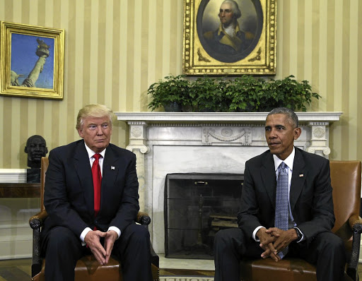 US President Barack Obama meets president-elect Donald Trump in the Oval Office in the White House to discuss transition plans on November 10 2016. Picture: Reuters