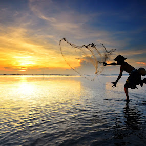 Golden Eye by Hendri Suhandi - People Street & Candids ( bali, pwcsilhouettemotion, silhouette, beach, sunrise, fisherman, people )