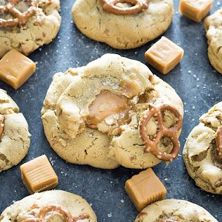 Caramel Stuffed Salted Pretzel Cookies.