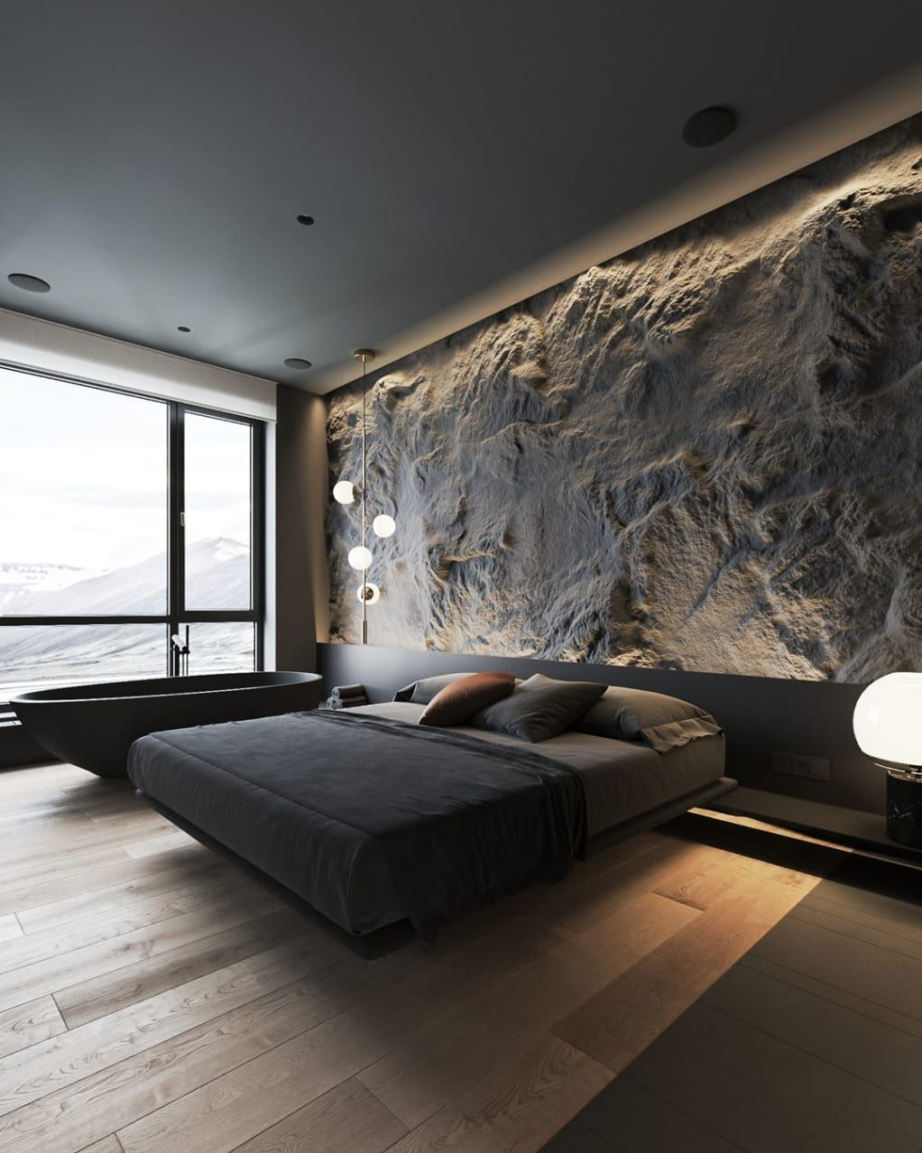 Unique Stone Headboard for Luxury Bedroom