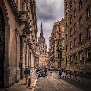 Barcelona - Street and Cathedral-.jpg